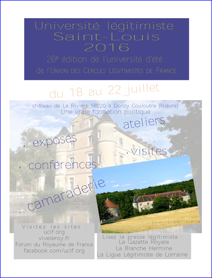 Université légitimiste Saint Louis 2016
