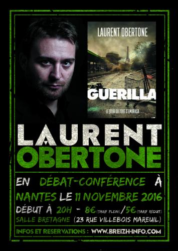 Conférence de Laurent Obertone à Nantes vendredi 11 novembre 2016