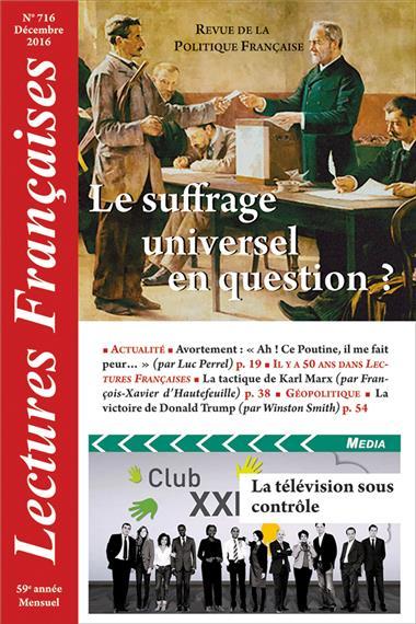 N° 716 – Décembre 2016 : Le suffrage universel en question ?