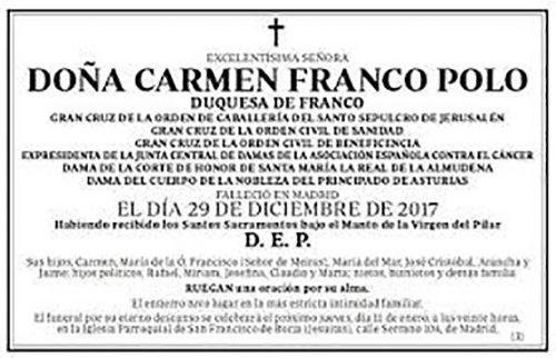 Décès de doña Carmen Franco Polo