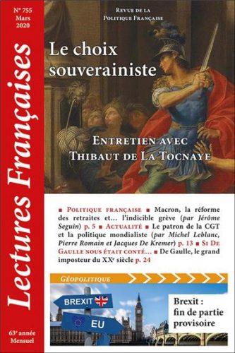 N° 755 – Mars 2020 : Le choix souverainiste. Entretien avec Thibaut de La Tocnaye